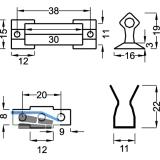 Sockel-Blendenschnapper, Schrauben, Schließteil Kunststoff weiß/Stahl gebläut