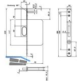 Springriegelkasten 117 x 75 x 15,5 mm, Stulp 220 x 20 mm rund, Edelstahl