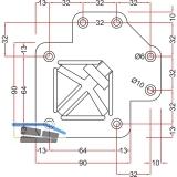Tischfuß Ersatz-Einzelteile Quadra 60 x 60 mm, Befestigungsplatte oben