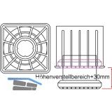 Tischfuß Ersatz-Einzelteile Quadra 60 x 60 mm, Verstellteller unten