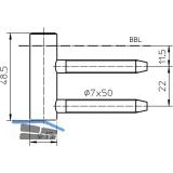 Türband Rahmenteil V 4400 WF, Bandhöhe 48,5 mm, Stahl vernickelt