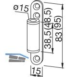 Türband Rahmenteil 11.405, Bandhöhe 38,5 mm, Stahl verzinkt