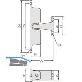 Türhalter mit verstellbarer Druckkugel, Wandabstand 70 mm,silberfärbig