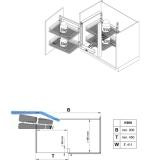 Vauth&Sagel WACO Eck-Schwenkbeschlag  links,  KB900mm, silberfarbig