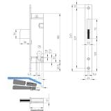 Rohrrahmenschloss Flachstulp mit Schwenkriegel, DM 30, Edelstahl