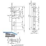 Rohrrahmenschloss U-Stulp m. Falle u. Riegel, PZW, DM 24, Edelstahl