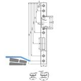 Schließblech U-förmig Falle und Riegel, links, 245 x 24 x 6 mm, Edelstahl