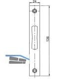 Schließblech flach f. Rohrrahmen-Riegelschloss, 136 x 24 x 3 mm, Edelstahl