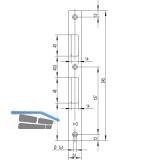 Schließblech flach Falle und Riegel, 245 x 24 x 3 mm, Edelstahl