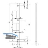 Schließblech U-förmig Falle und Riegel, 245 x 24 x 6 mm, Edelstahl