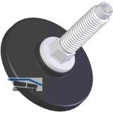 Höhenverstellschraube Stahl verzinkt mit Kunststoffteller schwarz, M10, ø 56 mm,