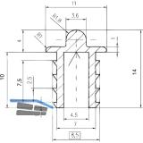 SCHÜCO Einfach- Laufschiene unten, Infront, Aluminium eloxiert
